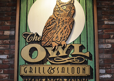 The Owl Tavern Exterior Wood Carved Sign